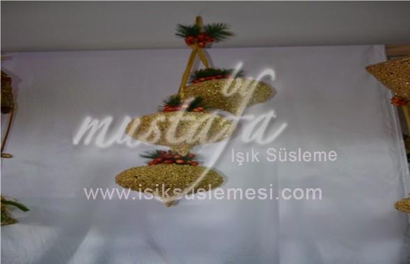 TAVAN SÜS 3'LÜ TOP GÜMÜŞ,ALTIN,BEYAZ